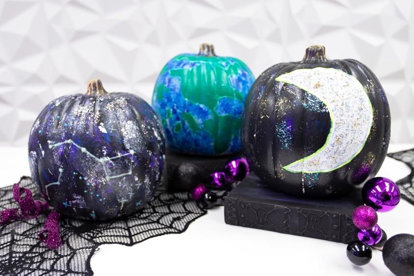 Galaxy painted pumpkins