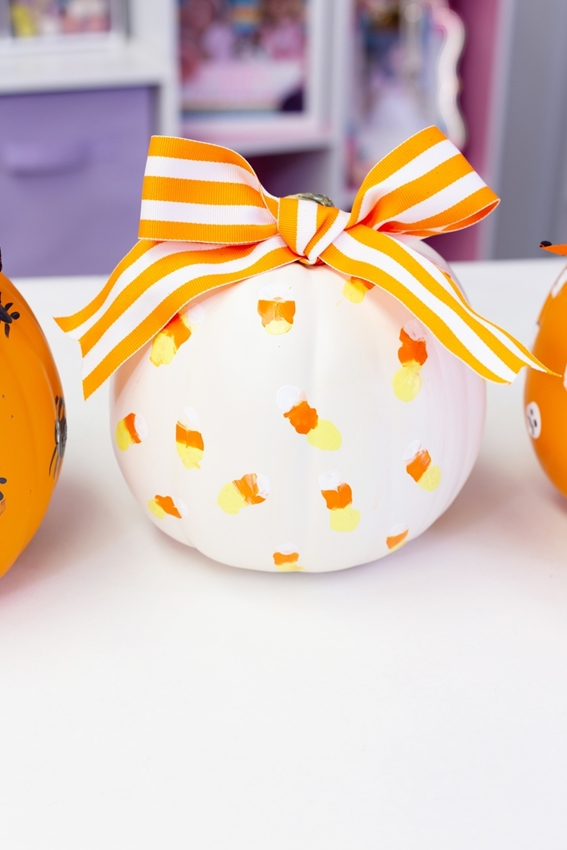 Candy Corn Painted Pumpkin Design