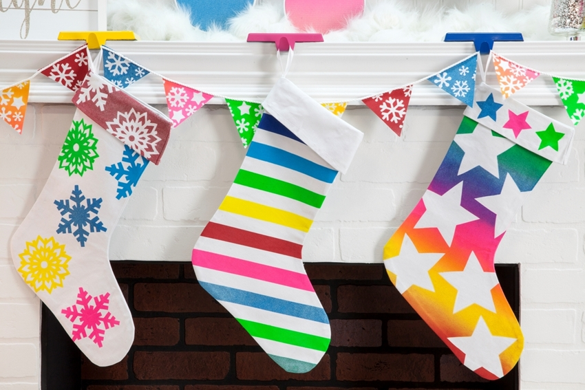 Colorful Spray Paint Stencil Stockings