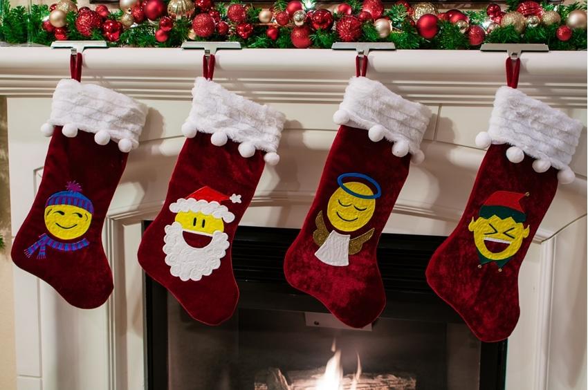 Fun Emoji Puff Paint Stockings