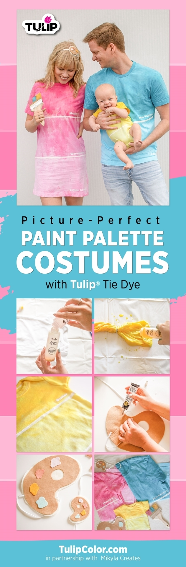 Cute Colorful Couples Costumes for Halloween with Tulip Tie Dye