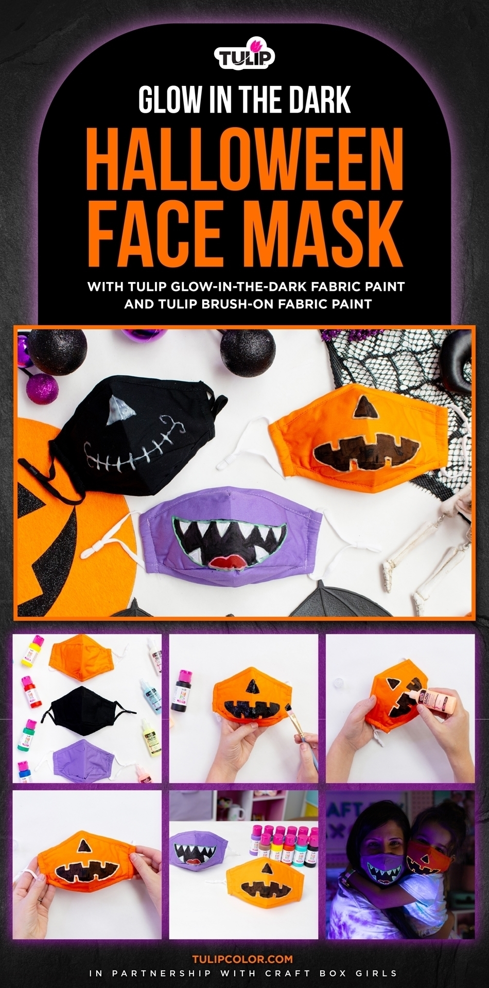 Spooky Stylish Halloween Face Masks with Glow in the Dark Fabric Paint